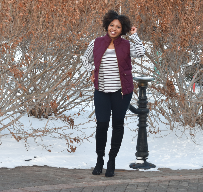 Three Thousand Miles Blog | Stuart Weitzman Highland dupes | winter fashion | over the knee boots | J. Crew excursion vest | Sam Edelman Boots | Stuart Weitzman Dupes